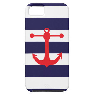 Navy Red Nautical Pattern iPhone 5 Covers