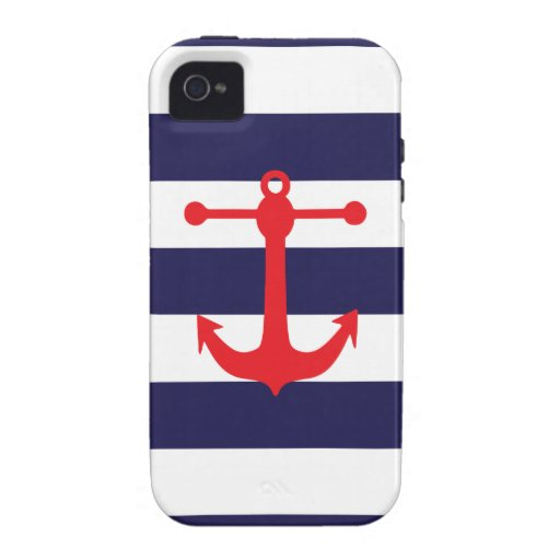 Navy & Red Nautical Pattern Case-Mate iPhone 4 Case