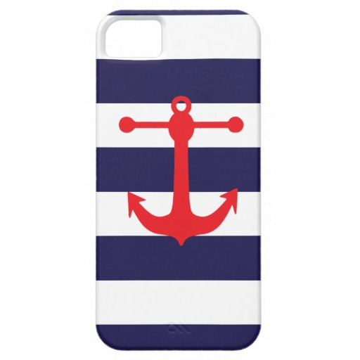 Navy & Red Nautical Pattern iPhone 5 Case
