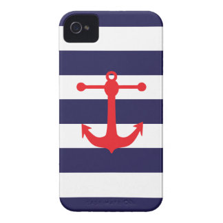 Navy & Red Nautical Pattern iPhone 4 Case-Mate Case