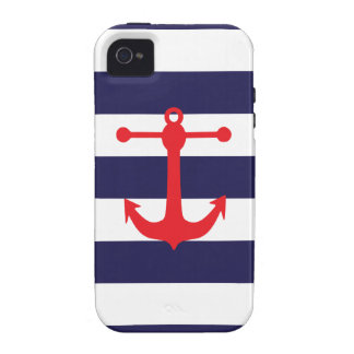 Navy Red Nautical Pattern Case-Mate iPhone 4 Case