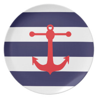 Navy & Red Nautical Pattern Plate