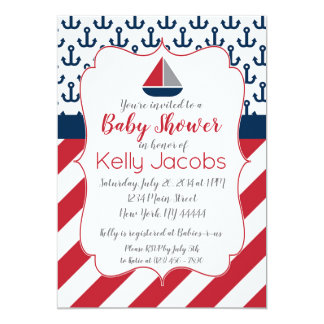Navy Red Nautical Sailboat Baby Shower Invitation