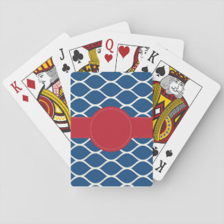 Navy Red Personalised Playing Cards