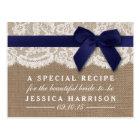 Navy Ribbon On Burlap & Lace Bridal Shower Recipe Postcard