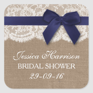 Navy Ribbon On Burlap & Lace Bridal Shower Square Sticker