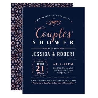 Navy Rose Gold Couples Wedding Shower Invitation