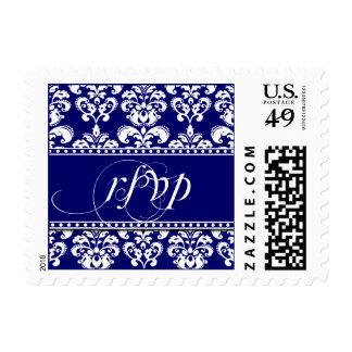 Navy RSVP Damask Postage Stamps