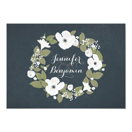Navy Rustic Floral wedding invite