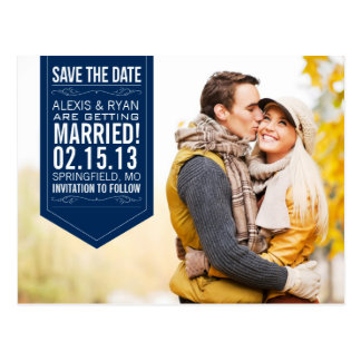 Navy Save The Date Postcard