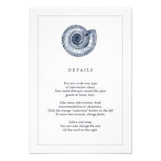 Navy Sea Shell Beach Wedding Information Card