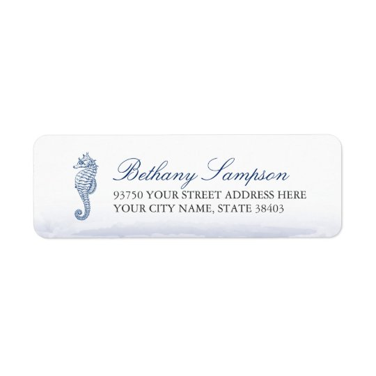Navy Seahorse Return Address Labels