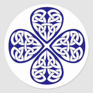 navy shamrock celtic knot round sticker