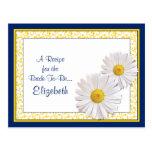 Navy Shasta Daisy Recipe Card for the Bride to Be Postcard