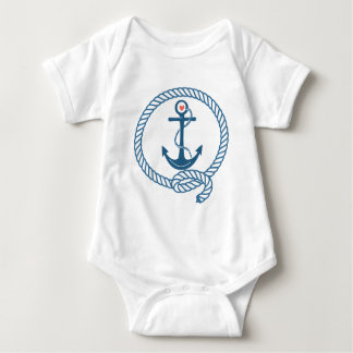 Navy Ship Anchor with Pink Heart Baby Bodysuit
