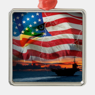 Navy ship sailing into the sunset christmas ornament