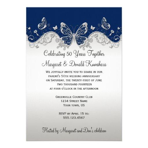 Navy Silver Butterflies 25th Anniversary Custom Announcements