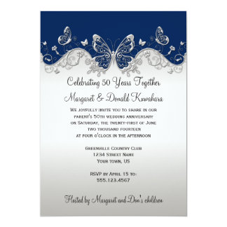 "Navy Silver Butterflies 25th Anniversary 5"" X 7"" Invitation Card"