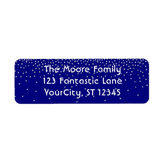 Navy & Silver Confetti w/ Your Name and Address