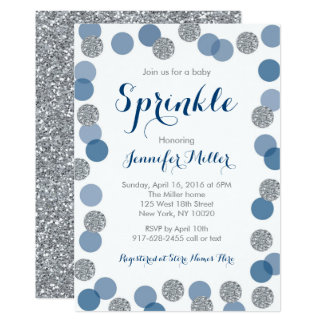 Navy & Silver Glitter Baby Sprinkle Card