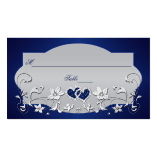 Navy, Silver Gray Floral, Hearts Place Card Business Card