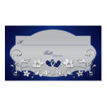 Navy, Silver Grey Floral, Hearts Place Card Pack Of Standard Business Cards