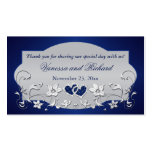 Navy, Silver Grey Floral, Hearts Wedding Favour Pack Of Standard Business Cards