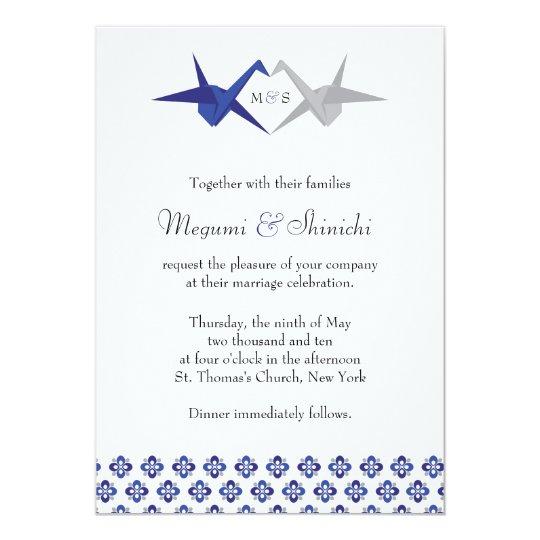 Navy / Silver Origami Cranes Wedding Card