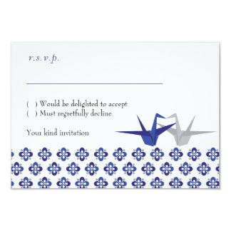 Navy / Silver Origami Cranes Wedding RSVP 9 Cm X 13 Cm Invitation Card