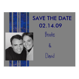 Navy & Silver Photo Save the Date Postcard