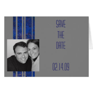 Navy & Silver Save the Date Card
