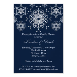 Navy, Silver Snowflakes Couples Shower Invite
