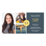 Navy simply collage class of grad announcement personalised photo card