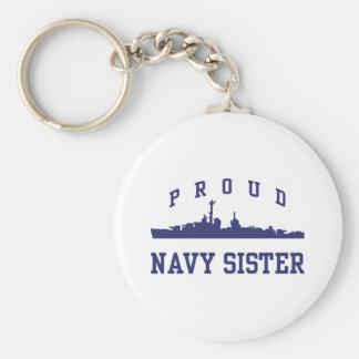 Navy Sister Basic Round Button Key Ring