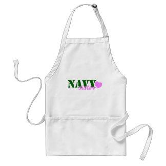 Navy Sister Green Pink Heart Standard Apron