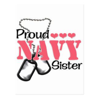 Navy Sister Hearts Postcard