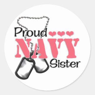 Navy Sister Hearts Round Sticker