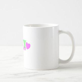 Navy Sister Lime Green Heart Basic White Mug