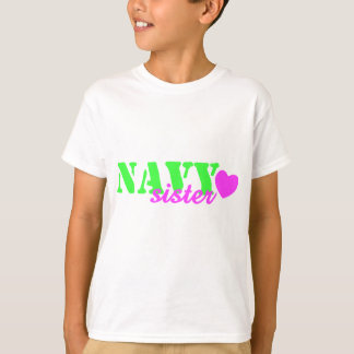 Navy Sister Lime Green Heart T-Shirt