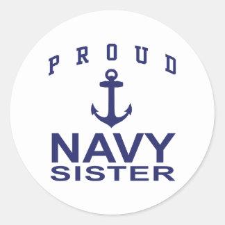 Navy Sister Round Sticker