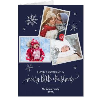 Navy Snowflake | 3 Photo Christmas Photo Card