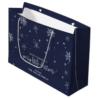 Navy Snowflake Christmas Large Gift Bag