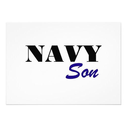Navy Son Custom Invitation
