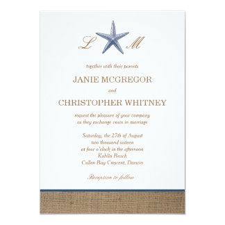 Navy Starfish Burlap Beach Wedding Invitations