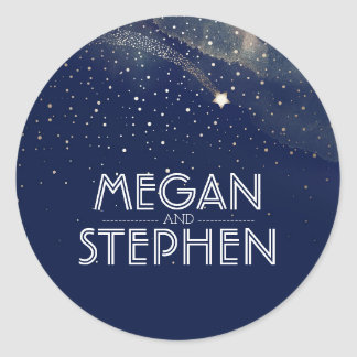 Navy Starry Night Shooting Star Wedding Classic Round Sticker