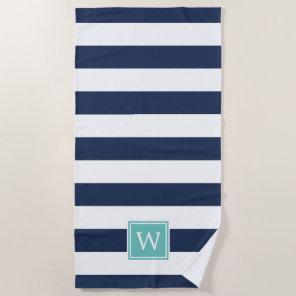 Navy Stripe & Aqua Monogram Beach Towel