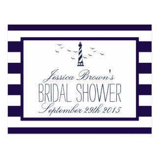 Navy Stripe Lighthouse Bridal Shower Recipe Cards Postcard