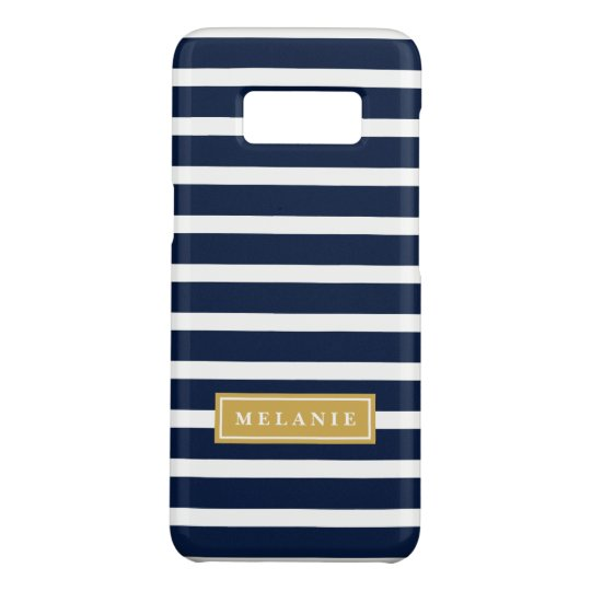 Navy Stripe Pattern Gold Name Template Case-Mate Samsung Galaxy S8 Case