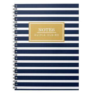 Navy Stripe Pattern Gold Name Template Notebooks