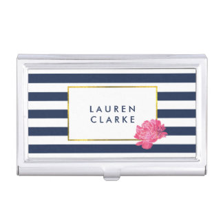 Navy Stripe & Pink Peony Business Card Holder